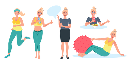 Healthy lifestyle. The girl eats healthy food, Jogging, doing yoga, drinking water. Vector illustration of weight loss