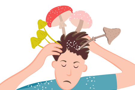 Ironic poster of dandruff problem on the head. Mushrooms and toadstools in the mind of a person due to dermatological diseases. Vector illustration for medical banner
