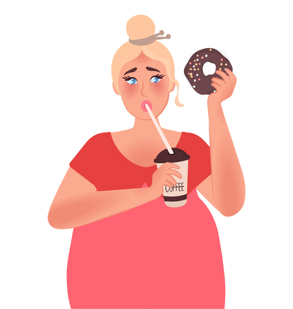 A fat woman drinks coffee and eats a chocolate donut. Junk food. Obesity vector graphics