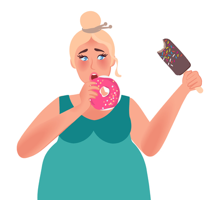 Obesità. Donna grassa che mangia ciambelle e gelato. Cibo spazzatura. Illustrazione vettoriale di persone grasse