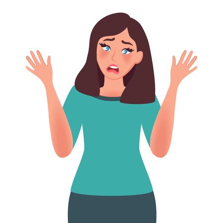 Girl shows gesture of dissent. Negative facial expression. Anger. Vector illustration of human emotion Illustration