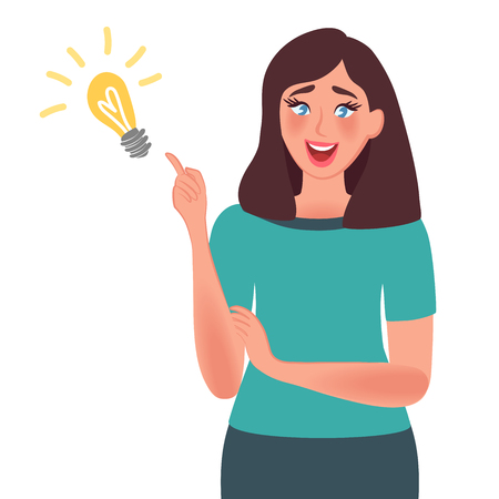 Idea concept. A good idea came to the womans mind. Shows gesture solution to the problem. Vector illustration people think
