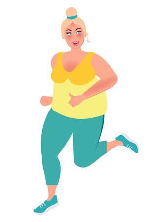 Full young girl running around. Weight loss concept. Vector graphics of a healthy lifestyle