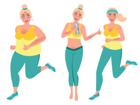 Weight loss concept. Girl on the run. Vector illustration of healthy lifestyle Ilustracja