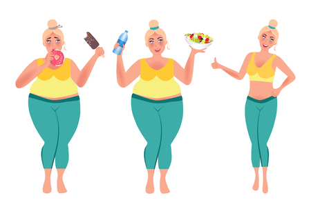 Girl eat healthy food and lose weight. Full girl before weight loss and after. Vector illustration of healthy lifestyle Vector Illustratie