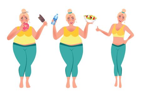 Mädchen essen gesundes Essen und verlieren Gewicht. Volles Mädchen vor und danach. Vektorillustration des gesunden Lebensstils Vektorgrafik