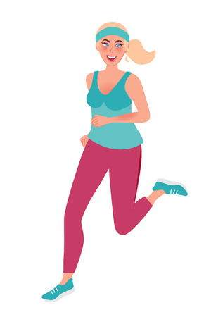 A girl on a morning jog. Running young woman. Vector illustration of running and healthy lifestyle