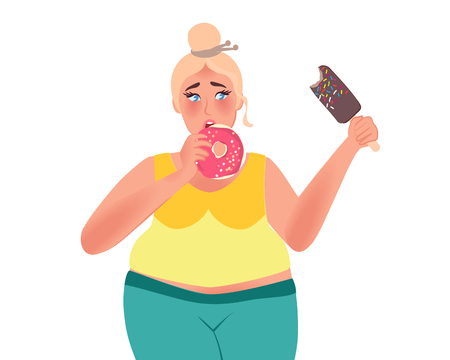 The fat woman eats donuts and ice cream. Obesity. Junk food. Vector illustration of fat people