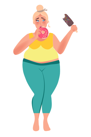 Fat woman eating doughnuts and ice cream. Obesity. Junk food. Vector illustration of fat people Illustration