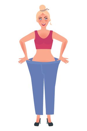 Slender girl in big jeans shows the results of weight loss. Vector illustration of people and healthy lifestyle Stock Vector - 123019686