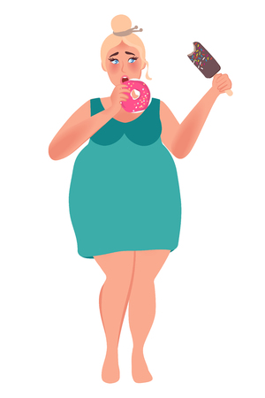 Overweight woman eating donuts and ice cream. Junk food. Obesity. Vector illustration of fat people Illustration