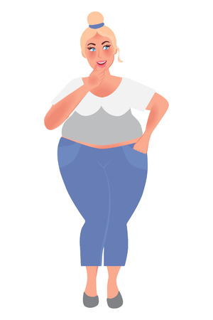 A pretty full girl in fashionable clothes of large sizes. Sexy thick woman vector