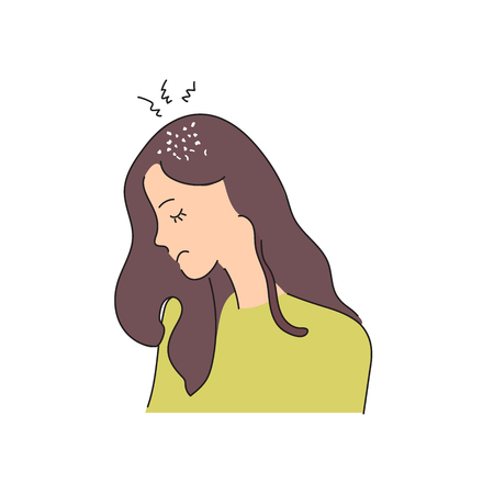 Fungal skin diseases, dermatology. Dandruff problem on the head. The girl is sad because of a chronic disease. Vector illustration in style. Medical poster Illustration