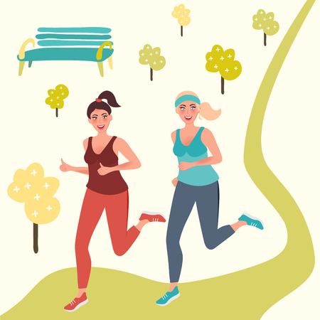 Morning jog in the Park. Running girls are happy. Vector illustration of fitness in nature Vectores
