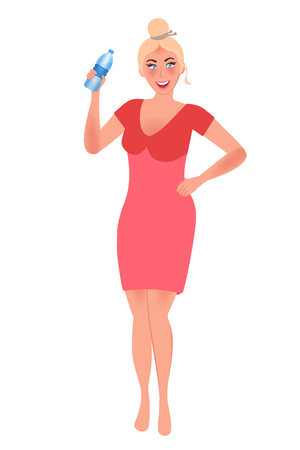 Slim and elegant girl in a dress holding a bottle of water. Diet and weight loss. Vector illustration of a beautiful figure 向量圖像