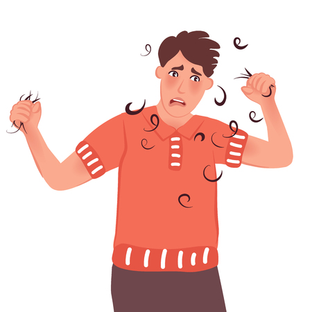 A man holds in his hand fallen hair. Vector illustration of people with baldness
