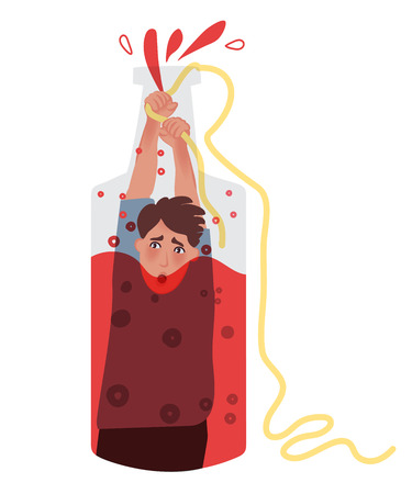 The alcoholic sits in a bottle and holds the rope to get up. Vector illustration of bad human habits Illustration
