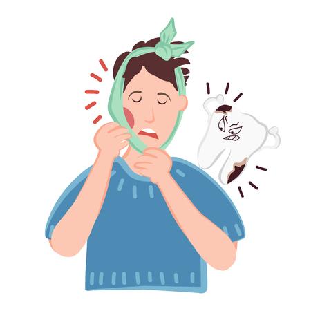 Una persona sufre de dolor de muelas agudo y caries. Flujo o inflamación en las encías y mejillas. Diente malvado de dibujos animados con bacterias. Ilustración de vector para odontología
