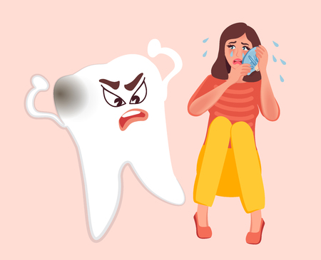 The girl has a toothache, she suffers and is afraid to go to the doctor. Angry tooth cartoon. Vector illustration of people for medical institutions