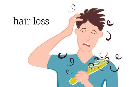 L'uomo ha visto i capelli sul pettine e triste a causa della perdita e della calvizie. Illustrazione vettoriale di una persona con problemi di malattia