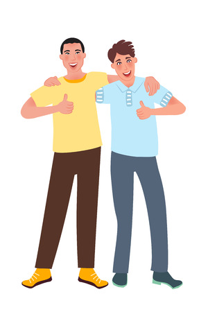 Young people of European and Asian appearance smile and hold your finger up. Vector illustration of a persons nationality