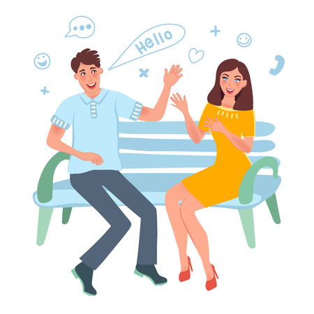 Acquaintance a girl and a guy. A young man and a girl sitting on a bench and communicate.  Vector illustration of happy people and romantic relationships Ilustração