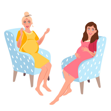 Pregnant women sit in a chair and have a good time in the conversation. Vector illustration of pregnancy