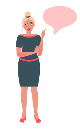 Girl coach conducts business training. A successful teacher and mentor in a free pose. Vector illustration of people in learning Çizim
