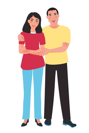 Happy Asian husband and wife hugging each other. Family relation. Vector illustration of people and emotions