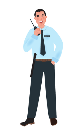 Man security guard holding a portable radio transmitter. Vector illustration of people in the profession Vectores