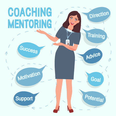 Coach, the girl offers training and education. A successful teacher and mentor in a free pose guarantees success and achievement of the goal. Vector illustration of people in business