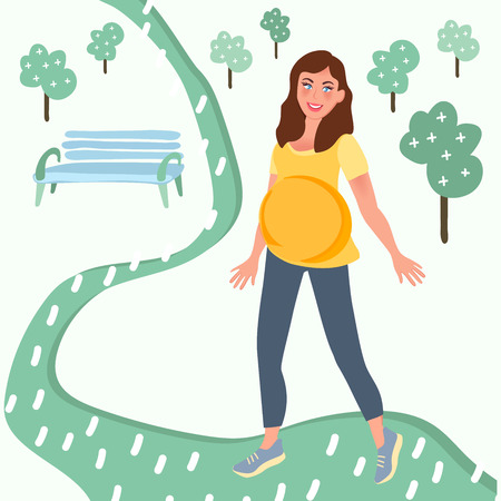 Pregnant girl walking in the Park. Sports and recreation during pregnancy. Vector illustration of healthy pregnancy 向量圖像