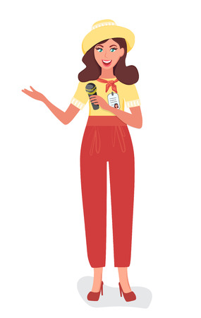 The Museum guide with a microphone tells about the exhibits and attractions. People and tourism vector illustration Illustration