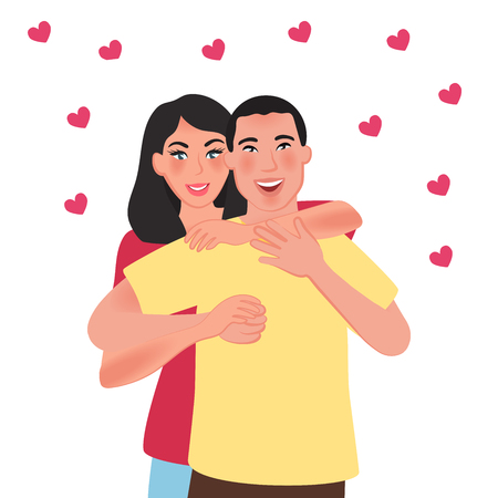 Young people of Asian nationality in love. Romantic feelings and love. Vector illustration of people and emotions