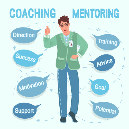 Coach or mentor of European appearance with glasses offers training and education. A successful teacher in a free pose, costume guarantees success and achievement of the goal