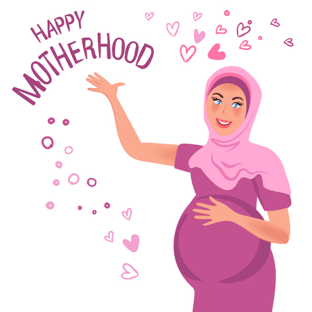 A pregnant Oriental woman smiles, raising her hand. Vector illustration of pregnancy, happy motherhood