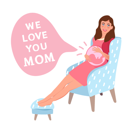 A pregnant woman with an embryo in her stomach. I love mom! mother's day or women's day slogan. Vector illustration of family relations