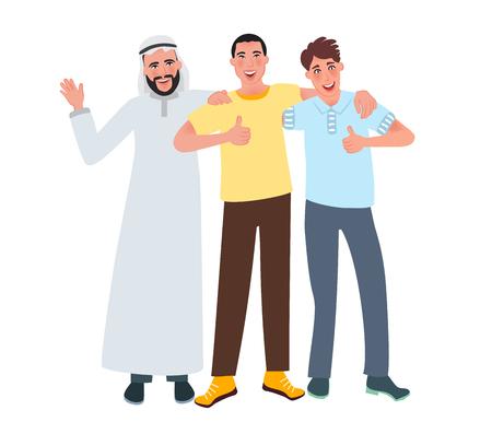 Männer mit europäischem, asiatischem und arabischem Aussehen lächeln und heben einen Finger. Freundschaft der Nationalitäten. Vektorillustration der menschlichen Rasse