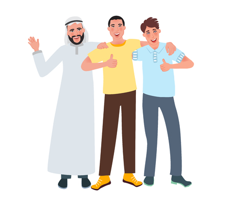 Men of European, Asian and Arab appearance smile and lift a finger up. Friendship of nationalities. Vector illustration of human race