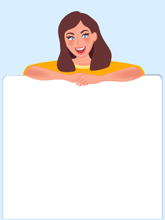 Girl holding a banner ad. Template for advertising on a pure white background for any labels. Vector illustration of people in advertising