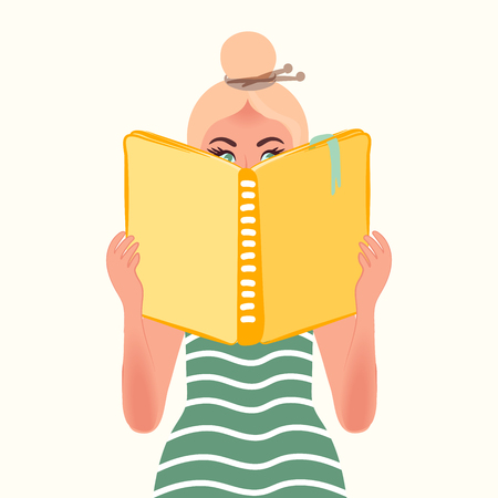 Blonde girl reading a book. Vector illustration of people reading