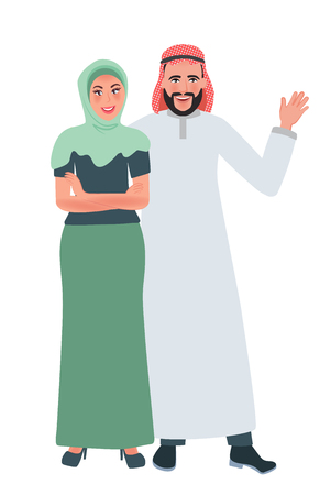 Happy man and woman in Muslim clothes hugging and smiling. Vector illustration of the national family Çizim