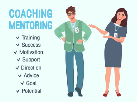 Coach colleagues offer training and education.  Vector illustrations of business people in advertising, marketing, business, education Illustration