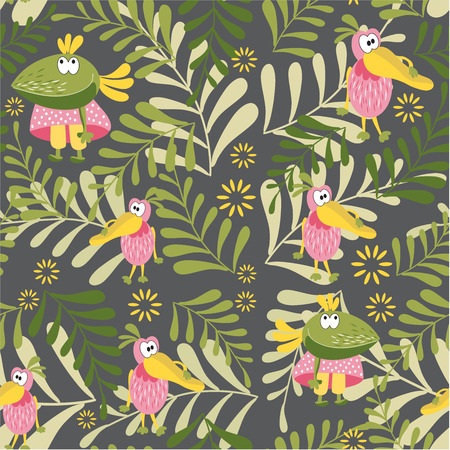 Seamless pattern with fairy birds. Crow and Pelican in a forest glade. Botanical background for childrens room, books, fabrics, cards, pattern for childrens underwear, clothes. Fashion for children