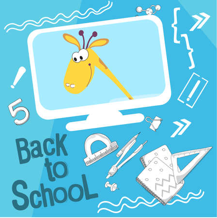 Back to school vector illustration. Style comics cartoon about school. For the youngest children. Giraffe on the screen, says he wants and loves to learn Çizim