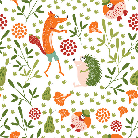 Forest animals seamless baby pattern. Sly Fox, hedgehog and Mr. bird walk in a forest glade. Background for childrens room, books, fabrics, postcards