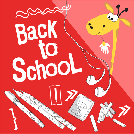 Back to school vector illustration. Style comics cartoon about school. For the youngest children. The giraffe is getting ready for school and buying school supplies