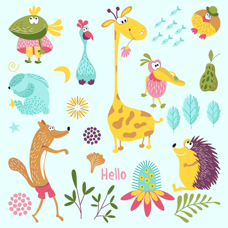 Set of forest animals. Sly Fox, hedgehog, Mr. bird, Pelican, rabbit, crow, giraffe, flower. Suitable for childrens room decoration, book, cloth, postcard