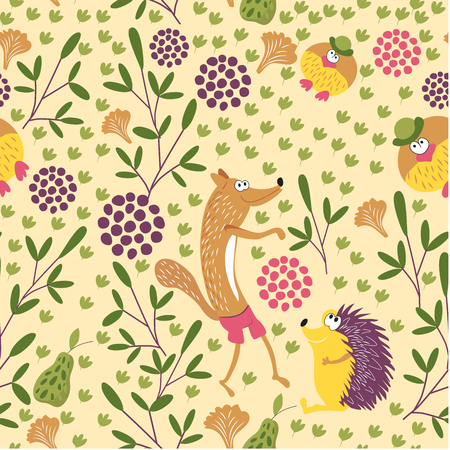 Forest animals seamless baby pattern. Sly Fox, hedgehog and Mr. bird walk in a forest glade. Background for children's room, books, fabrics, postcards