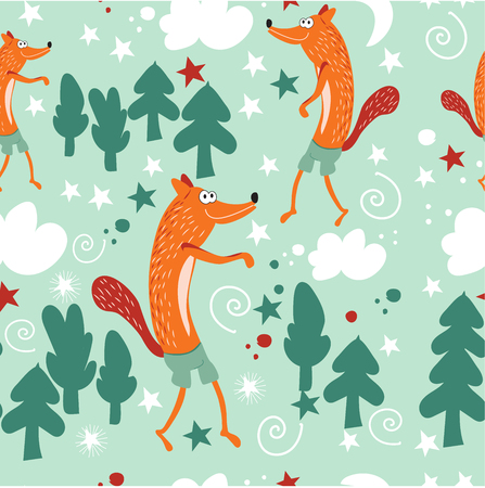 Seamless pattern baby fashion. Red foxes walk in the fairy forest and forest glade. Background for a childs room, books, fabrics, greeting cards, childrens clothing